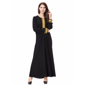Women Ethnic Pure Color Muslim Islamic Long Sleeve Maxi Dress Arab Jilbab Abaya Cloth(Gold) - intl - 3