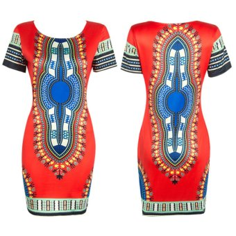 Women Ethnic Style Tribal Printed Beach Floral Tunic Dress (Red) -intl - 4
