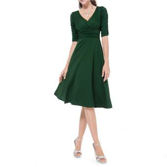 Women Fashion Deep V-neck High Waist Half Sleeve Dress (Army green)(Intl) - 2