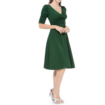 Women Fashion Deep V-neck High Waist Half Sleeve Dress (Army green)(Intl)