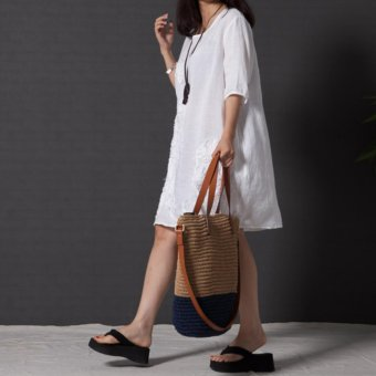 Women Fashion Embroidered Long Sleeved Cotton Linen Dress Lace ALine Plus Size Dress - intl - 3
