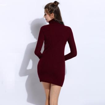 Women Fashion Long Sleeve Knit Pullover Turtleneck Sweater Dress(Wine Red) - 5