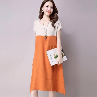 Women Fashion Maternity Dress Patchwork Short Sleeved Cotton LinenDress Midi A Line Plus Size Dress - intl