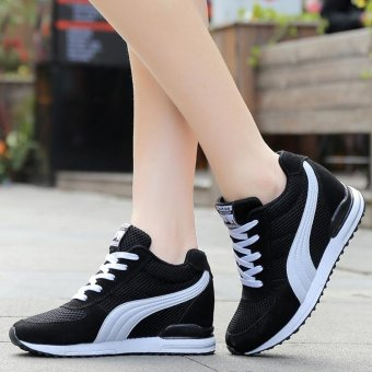 Women Fashion Sneakers Ladies Wedges Shoes Inner Heightening ShoesPlatform Casual Sport Shoes ( Black ) - intl