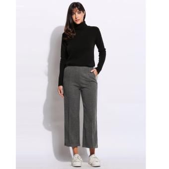 Women Fashion Vintage Style High Waist Solid Culottes Wide LegPants