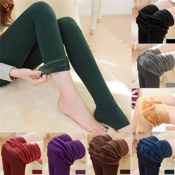 Women Fashion Winter Thermal Stretchy Leggings Warm Fleece Lined Tights Pants (Purple) - intl - 3