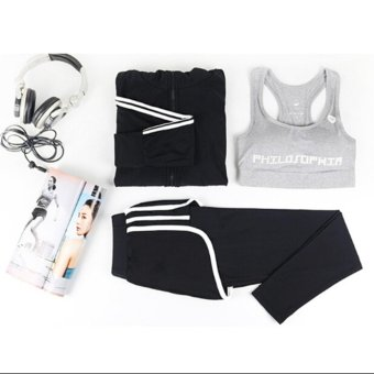 Women Fitness Yoga Set jacket & Bra & pants Sport Set GymClothes Sport wear Training Suit Running Outdoor - intl