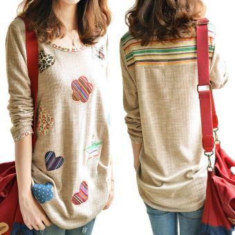 Women Fresh Hearts Flowers Print Blouse Round Neck Top Shirts(Int:M) - Intl - 2