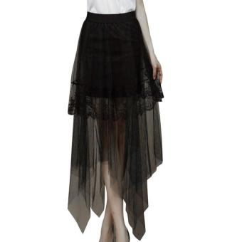 Women Gauze See Through Mesh Tulle Lace Floral Gothic Skirt Dress black - intl
