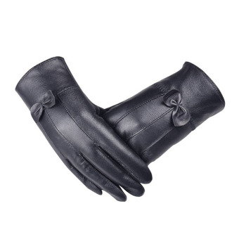 Women Girl Luxurious Leather Winter Super Warm Gloves Cashmere BowBlack - Intl