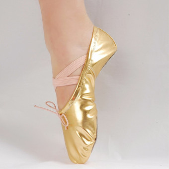 Women Girls Leather Sequins Pointed Dance Shoes Gymnastics Ballet Gold 16 Sizes