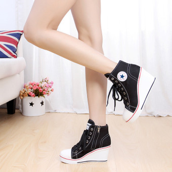 Women Girls Shoes High Top Wedge Heel shoes Lace Up Canvas Sneakers 8CM Height - 4
