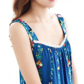 Women Girls Summer Sleeveless Floral Cotton Sleep Dress Bath HomeNight Wear Housedress Nightwear-Blue - 3