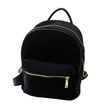 Women Gold Velvet Small Rucksack Backpack School Book Shoulder Bag- intl