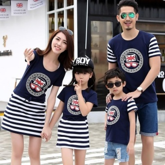 Women Heart Striped Family Dresses Couple Dresses Parent-childDresses Matching Outfits Dresses Parentage Clothes Shirts - intl