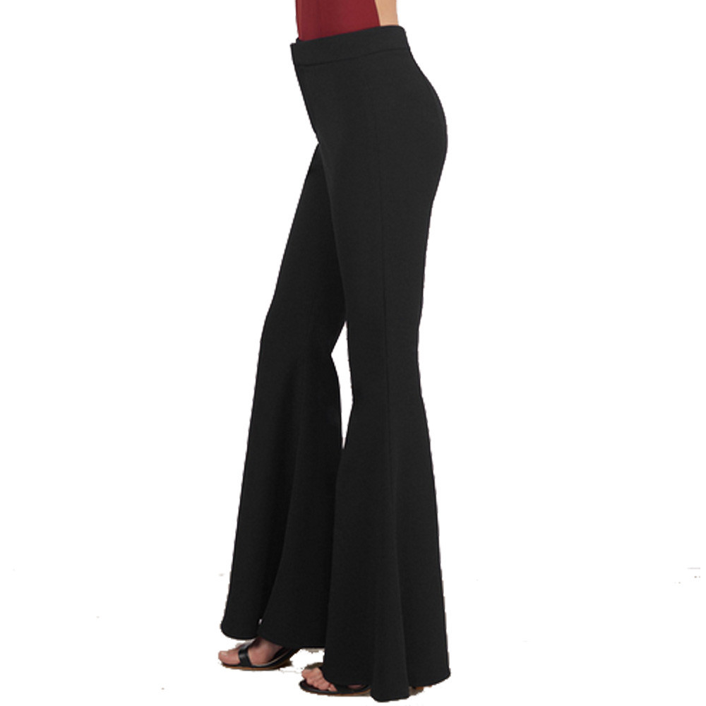 Women High Waist Flare Wide Leg Long vintage Pants Palazzo Trousers - intl ...