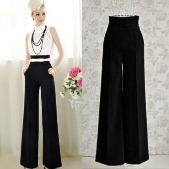 Women High Waist Flare Wide Leg Long vintage Pants Palazzo Trousers - intl