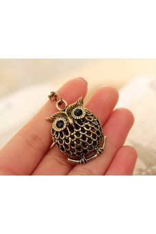 Women Hollow out Owl Pendant Sweater Long Necklace - picture 2