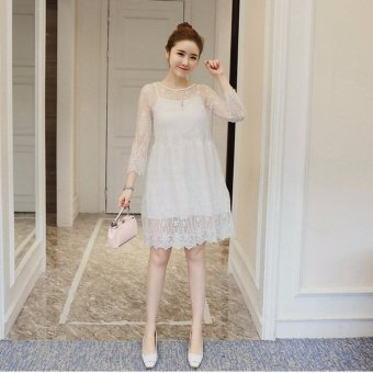 Women Lace Maternity Dresses Loose Casual Pregnant Clothing White -intl