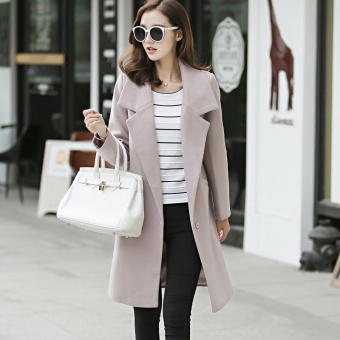 Women Ladies Long Sleeve Winter Jacket Coat Plus Size Long Outwear Woollen Coats - intl