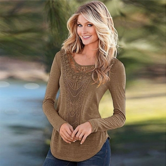 Women Ladies Loose Long Sleeve Lace Tops Blouse(Coffee)