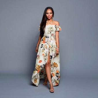 Women Ladies Sexy Off-shoulder Short Sleeve Maxi Dress High Waist Floral Front Split Party Slim Long Print Chiffon Dress - intl