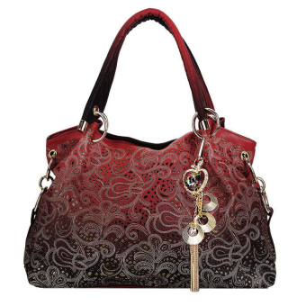 Women Lady's Classic Hollow Out Fine Pendant High Quality PU Casual Bag Tote Bag Handbag (Red)