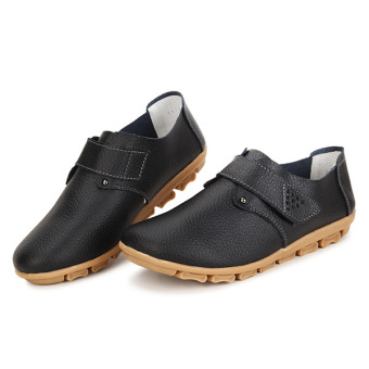 Women Leather Shoes Color Flats Slip On Loafers Black