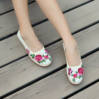 Women Loafers Slip On Flats Breathable Platform Flower Shoes forMothers - intl