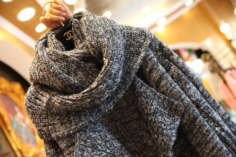 Women Long Cardigans Autumn Winter Thicken Coat Casual Knitted Oversized Sweaters Warm Outwear Scarf Collar DARK GRAY - intl - 4