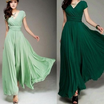Women Long Formal Evening Prom Party Bridesmaid Chiffon Ball Gown Cocktail Dress - intl
