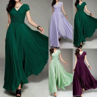 Women Long Formal Evening Prom Party Bridesmaid Chiffon Ball Gown Cocktail Dress - intl Color Dark Green - 3