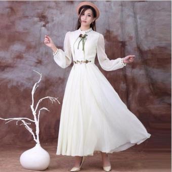 Women Long Sleeve Cotton Linen Casual Long Maxi Kaftan Hippie DressBall Gown (white) - intl - 3