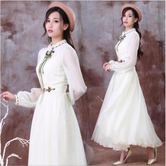 Women Long Sleeve Cotton Linen Casual Long Maxi Kaftan Hippie DressBall Gown (white) - intl - 2