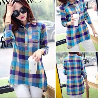 Women Long Sleeve Lapel Long Plaid Casual Shirt Blouse - Intl - 3