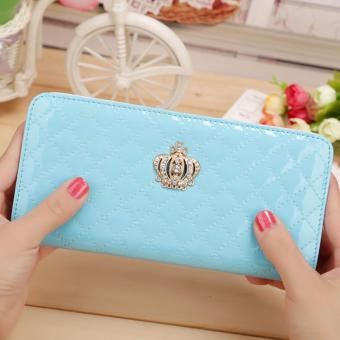 Women Long Wallet Crown Purse Bag Clutch Wallets Phone Handbag(SkyBlue) - intl