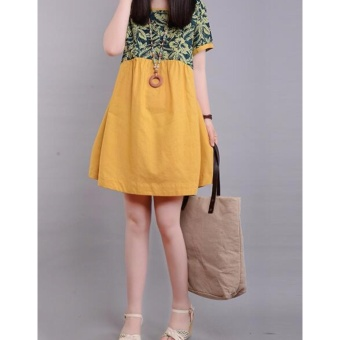 Women Loose Plus Size Pregnant Dress Linen Skirts YELLOW - intl