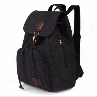 Women Men Canvas Travel Satchel Shoulder Bag Backpack School Rucksack Outdoor Black