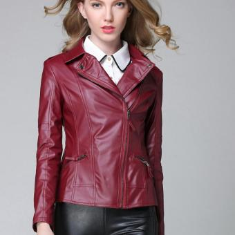 Women Motorcycle Leather Jackets Short Outerwear Coat (Wine Red) - intl