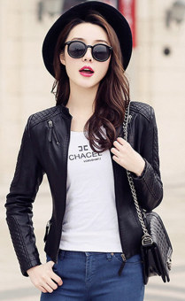 Women Motorcycle PU Jacket Biker Coat Leather Jackets Short Outerwear Coat(Black) - intl