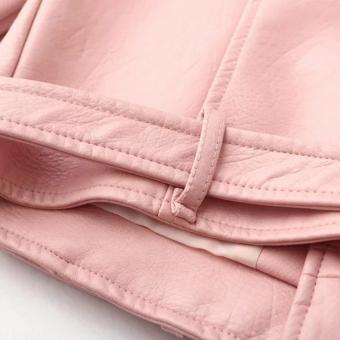 Women Motorcycle PU Leather Jacket Zipper Coat (Pink) - 5
