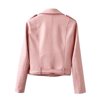 Women Motorcycle PU Leather Jacket Zipper Coat (Pink) - 2