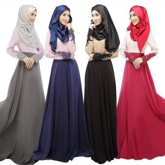 Women Muslim Long Dress Indian Islamic Black Red Malaysia KaftanAbayas Ladies Muslim Dresses with Lace - intl