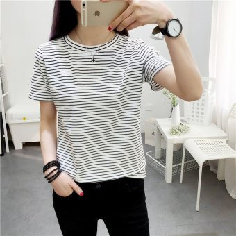 Women o-neck casual striped tee t-shirt - intl