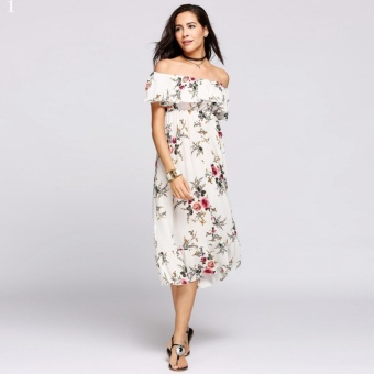 Women Off Shoulder Floral Print Ruffled Maxi Beach Dress White - intl