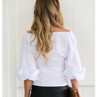 Women Off Shoulder Shirts Long Sleeve Clothe V-neck Slim Blouse(White) - intl - 3