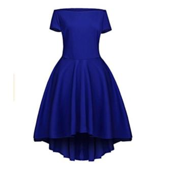 Women Off Shoulder Sleeve High Low Skater Dress Swing Party Cocktail Formal Dress Blue - intl - 2
