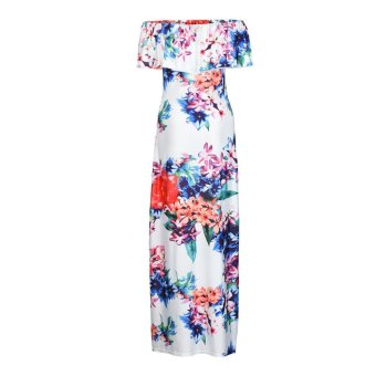 Women Off Shoulder Sleeveless Floral Printed Ruffles Dress Strapless Long Dress Multicolor - intl - 5