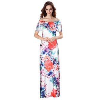 Women Off Shoulder Sleeveless Floral Printed Ruffles Dress Strapless Long Dress Multicolor - intl - 2
