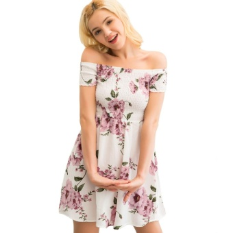 Women Off-Shoulder Sundress Bohemian Floral Print Slash Neck SummerCasual Beach Tunic Dress White - intl